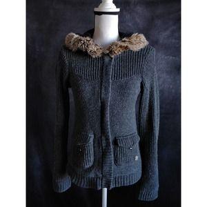 Roxy Charcoal Gray Wool Hooded Sweater Jacket M